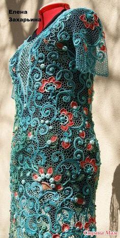 Доброго времени суток! Наконец-то закончила платье! На его создание ушло 3 месяца! Мотивы выполнены из итальянской пряжи Египто 16, сетка Египто 25, крючки 0,5 и 0,75. и так, как это было...