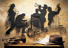 Jazzin' Quintet Music Theme Metal Wall Art Sculptures Musician Jazz Motown Band