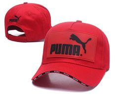 Men s   Women s Puma The Logo Rubber Patch Stitched Curved Dad Cap - Red    Black (Copy Ori) 827ed7184a5d