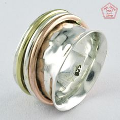 Sz 8.5 US, FOREVER SHINE DESIGN 925 STERLING SILVER SPINNER RING,R4490 #SilvexImagesIndiaPvtLtd #Spinner #AllOccasions
