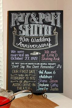 Anniversary chalk board revealing important dates -- awesome! 60th Anniversary Parties, Parents Anniversary, Golden Anniversary, Anniversary Ideas, Anniversary Chalkboard, Ruby Wedding Anniversary, Happy Anniversary, Dates, 50th Party