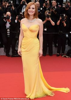 Jessica Chastain from Cannes Best Dressed Stars Exquisite sunshine  The  soft yellow of this graceful gown is the perfect complement to the actress   movie ... 32ea2a5840b9