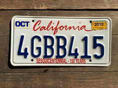 California License Plate 4GBB415 October 2010 Tags    #LicensePlate #CaLicensePlate #CaliforniaLicense #October2010Tags #2010 #Plate4gbb415 #VintageCaLicense #4GBB415 #VintageCalifornia #VintageLicense