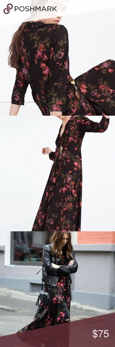 ZARA floral button up maxi dress size M Absolutely stunning Zara premium denim collection maxi dress. Black with floral design and buttons, buttons stop at about midi length to have a little slit effect! This can also be worn as a long kaftan/ kimono if you want to keep unbuttoned! Worn and hand washed once. 3/4 sleeves with buttons. Material is 100% viscose. Inside has white like lines due to print! Zara Dresses Maxi