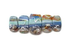 Seascape Beads by JO ANNE ST JAMES | Polymer Clay Planet (Jo Anne's take on the Shoreline Bracelet tutorial http://www.beadsandbeading.com/blog/shoreline-bracelet-polymer-clay-tutorial-vol-072/18534/ ) #polymer #clay #tutorial