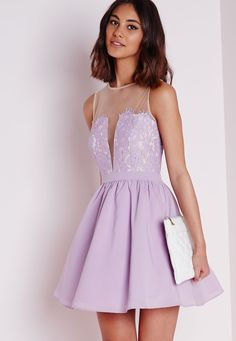 Lace Puffball Skater Dress Lilac - Dresses - Skater Dresses - Missguided