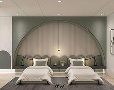 Olive Green Bedrooms, Bedroom Green, Modern Bedroom, Interior Inspiration, Room Inspiration, Contemporary Interior Design, Dream Rooms, Kid Beds, Autocad