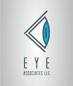 """This is a really visually interesting combination logo! I like how the eye image is over the text, """"Eye Associates."""" Also the eye appears to be looking on it's side. The eye is created with mainly diagonal lines on an angle together with a couple curved lines as well. This created a clean and fixed image. #Logo #Design"""