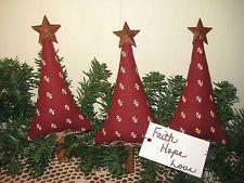 3 HANDMADE PRIM CHRISTMAS FABRIC TREE ORNIES ORNAMENTS BASKET FILLERS HOME DECOR