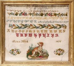 A 19th Century German Sampler Stitched By Lina Roth  & Dated 1876 ~ Biedermeier Style