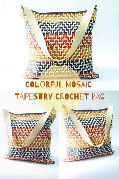Mochila Crochet, Crochet Tote, Crochet Shoes, Crochet Purses, Crochet Yarn, Bag Pattern Free, Tote Pattern, Purse Patterns, Tapestry Crochet Patterns
