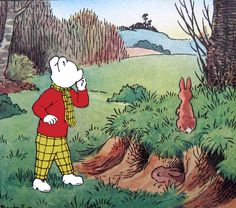 Rupert Bear and rabbits Children's Book Illustration, Illustrations, Winnie The Poo, English Artists, Vintage Children's Books, A Comics, Rabbits, Childhood Memories, Illustration