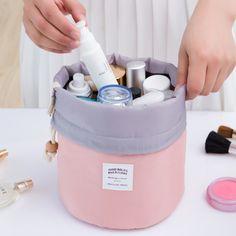2017 Real New Arrival Barrel Shaped Travel Cosmetic Bag Nylon High Capacity Drawstring Drum Wash Bags Makeup Organizer Storage