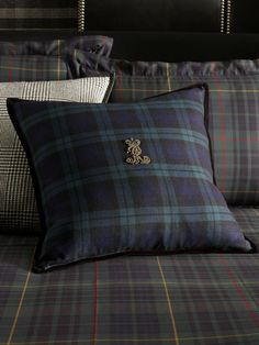 Essex Black Watch Throw Pillow - Tartan and glen plaid mix from Ralph Lauren Home. Tartan Decor, Tartan Plaid, Equestrian Decor, Equestrian Style, Scottish Decor, Plaid Bedding, Plaid Throw Pillows, Scottish Fashion, Ralph Lauren Style