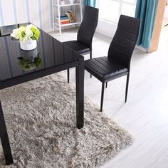 Glass Metal Kitchen Dining Table Set Black Dining Table Set, Glass Dining Set, 7 Piece Dining Set, Dining Table In Kitchen, Table Seating, A Table, Stainless Steel Table, Furniture Dining Table, Chair Types