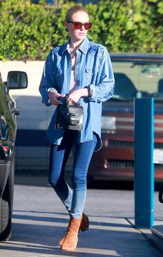 Kate Bosworth in a super laid-back chambray shirt worn with skinny jeans and tan leather boots