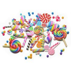10, 25pcs Clay SWEETS + Sprinkles Decoden Cabochons Set/Mix Kawaii Kitsch Phone