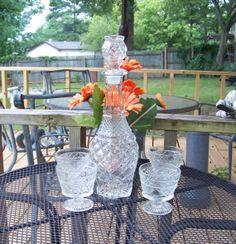SUPER SALE Shabby Chic Vintage Cut Glass Barware by tithriftstore, $20.00