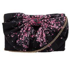 Pre-owned Red Valentino Floral Black & Pink Nylon Shoulder Bag