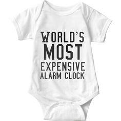 World's Most Expensive Alarm Clock White Baby Onesie | Sarcastic Me