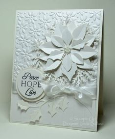 ♥ white poinsettia on white embossed Christmas card