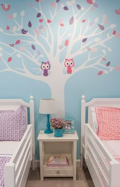 Twin Girls Shared Room tree decal with owls for fall. Change out the seasons for spring & winter too! room ideas for girls Twin Girl Bedrooms, Owl Bedrooms, Little Girl Rooms, Girls Bedroom, Twin Girls, Bedroom Wall, Twin Bedroom Ideas, Kids Bedroom Paint, Bedroom Decor