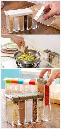 Caixas de temperos que se encaixam. Organizam a cozinha e economizam espaço!