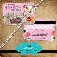 Rustic Country Chic Credit Card Quinceanera Partyquinceanera Invitationspink Invitationswedding