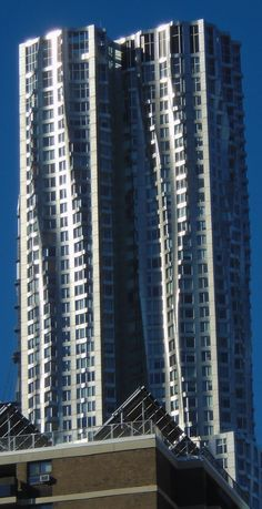 Distinctive building seen from Brooklyn Bridge