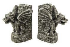 Cool Gothic Gargoyle Bookends Medieval Book Ends by Things2Die4. $34.99. In medieval times, ancient architects and stone carvers used gargoyles on buildings as a way to ward off evil spirits and bad luck. Made of concrete, this wickedly scary pair of gargoyle bookends not only looks great, but they do a good job holding books up too. Measuring 6 1/4 inches tall, 4 1/2 inches deep, and 4 3/4 inches wide, they show excellent detailing, down to the castle wall accen...