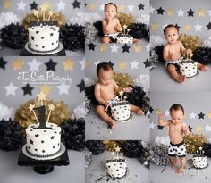 Two Sisters Photography, Black and gold cake smash session, star cake smash, first birthday, baby boy cake smash, modern cake smash, gold stars