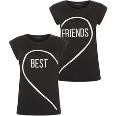 2 Pack Black Heart Best Friends T-Shirts ($21) ❤ liked on Polyvore featuring tops, t-shirts, shirts, black cotton t shirt, cotton t shirt, black top, black t-shirt and heart shirt