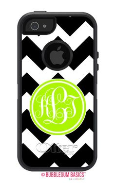 OTTERBOX DEFENDER iPhone 5 5S 5C 4/4S iPod Touch 5G Case Custom Black Chevron stripes lime green initial circle - Monogram Personalized on Etsy, $75.00