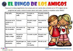 Bingo d los amigos Bingo, Comics, Words, Spanish, Writing, First Day, Initials, Literatura, Activities