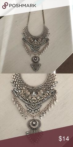 Silver embellished bib necklace Silver bib necklace Jewelry Necklaces