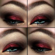Deep red glitter shadow is perfect for a big night out. You'll be sure to stay in the limelight.