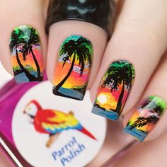 WEBSTA @urbannailart FL☀️RDA nail design with @parrot_polish neons from 'Welcome to the jungle' collection, @faburnails double sided detail brush and @kiesque