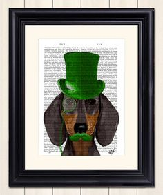 Another great find on #zulily! Dachshund in Green Top Hat Dictionary Print #zulilyfinds