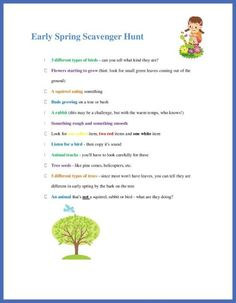 Spring Scavenger Hunt free printable - kids will love finding the fun ways that nature changes in Spring!  Great early science & nature activity