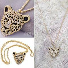 Rhinestone Leopard Tiger Head Chain Necklace Sweater Golden.http://www.cndirect.com/rhinestone-leopard-tiger-head-chain-necklace-sweater-golden.html
