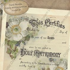 From a marriage certificate, a postcard and a book illustration from the 1890s  Printable Wedding Certificate Marriage by MyDigitalDaydream