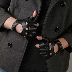Fingerless black leather gloves
