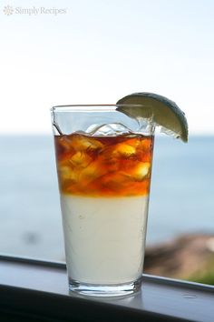 Best beach cocktail ever! A sailor's favorite Dark 'n' Stormy, with Goslings black rum, ginger beer, and lime. On SimplyRecipes.com