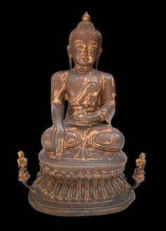 Mandalay Gilt Bronze Sculpture of Buddha Seated on a Double Lotus Throne Flanked by Two Disciples  Origin: Myanmar Circa: 19 th Century AD