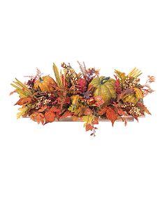 Look what I found on #zulily! Fall Pumpkin, Gourd & Maple Leaf Arrangement by Allstate Floral & Craft #zulilyfinds