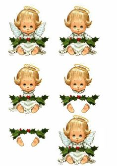 A very good little angel with a halo and Christmas Holly decoupage Christmas Decoupage, 3d Christmas, Christmas Paper Crafts, Christmas Pictures, Vintage Christmas, Christmas Cards, Christmas Sheets, Xmas, Aluminum Foil Crafts