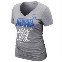 Ladies, show your pride with this super cute Nike Kentucky Wildcats 2012 NCAA Men's Basketball National Champions Ladies Locker Room V-Neck T-Shirt