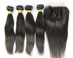 Junhair 3 Way Part 1Pc 4×4 lace closure with Virgin Chinese Remy Human Hair 3 Bundles Hair Weaves Mixed Length 4Pcs Lot Natural Straight Natural Color Can be Dyed