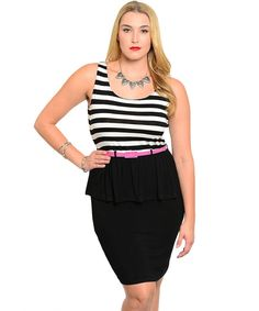 Turning Point Apparel Women's Plus Size Stretch Slim Fit Sleeveless Dress With Belted