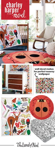 The Charley Harper for Nod Collection is filled with bedding and décor that'll make one stylish animal themed nursery. Using intricate embroidery, delicate applique and the finest materials available, we've created a way to experience Charley Harper's timeless body of work like never before. From animal print sheets and quilts to rugs and wall decals, these colorful creatures are perfect for a baby girl or boy's nursery.
